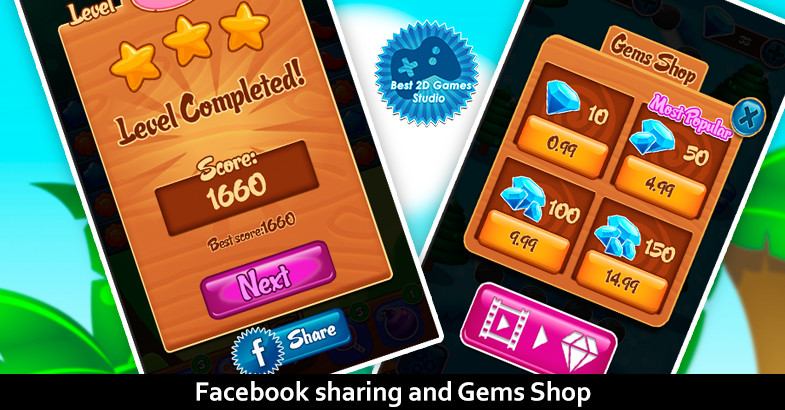 پکیج Jelly Garden Match 3 Complete Project یونیتی